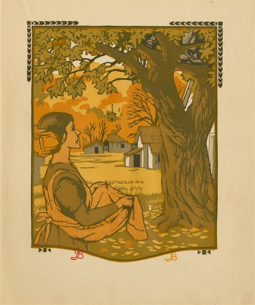 628: GUSTAVE BAUMANN - Original color woodcut