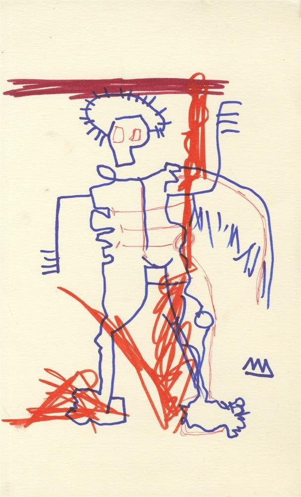 21: JEAN-MICHEL BASQUIAT - Color markers drawing