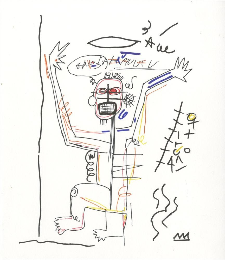 22: JEAN-MICHEL BASQUIAT - Color pen and marker and pen