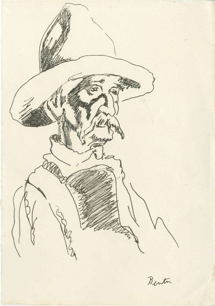 34: THOMAS HART BENTON - Original pen and ink drawing