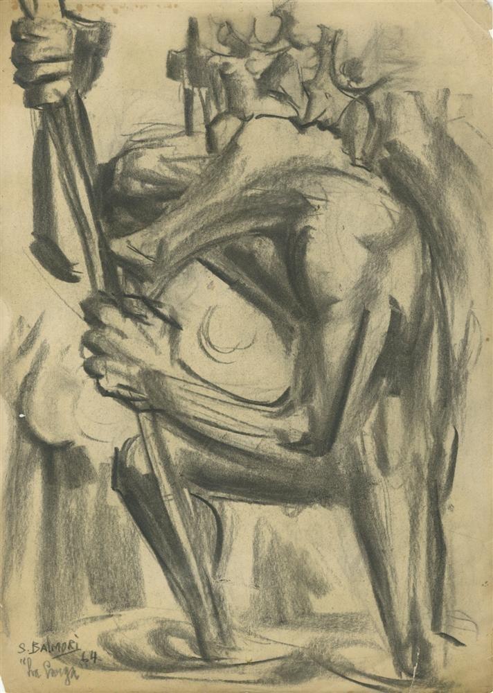 600: SANTOS BALMORI - Charcoal drawing