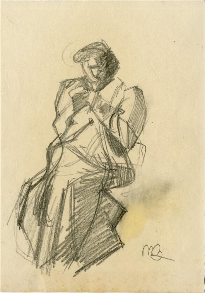 46: UMBERTO BOCCIONI - Original charcoal drawing