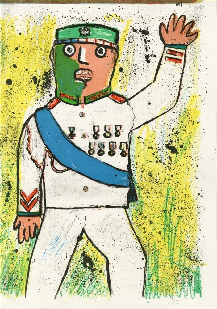 733: ENRICO BAJ - Color lithograph