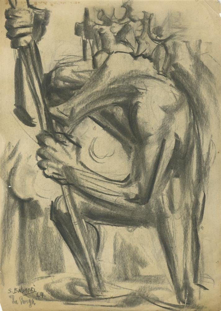 734: SANTOS BALMORI - Charcoal drawing