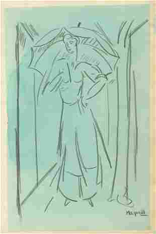 377: ALBERTO MAGNELLI - Watercolor and pencil drawing