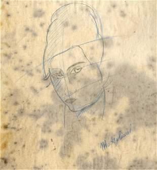 420: AMEDEO MODIGLIANI [ATTRIB] - Original colored penc