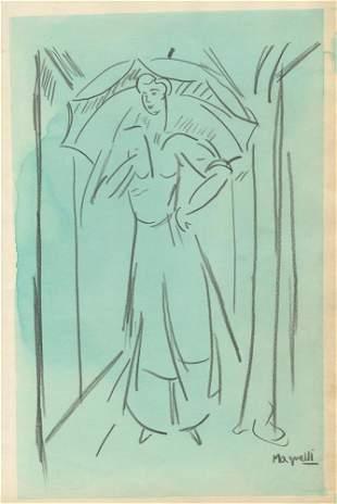 ALBERTO MAGNELLI - Watercolor and pencil drawing