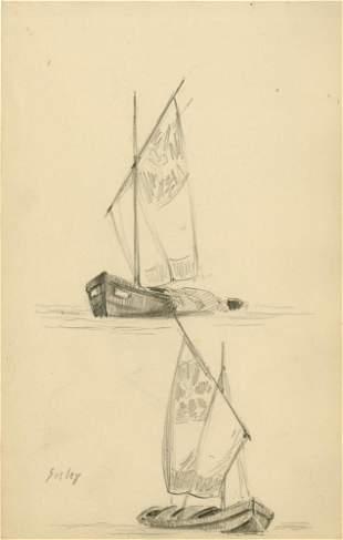 1238: ALFRED SISLEY - Original pencil drawing