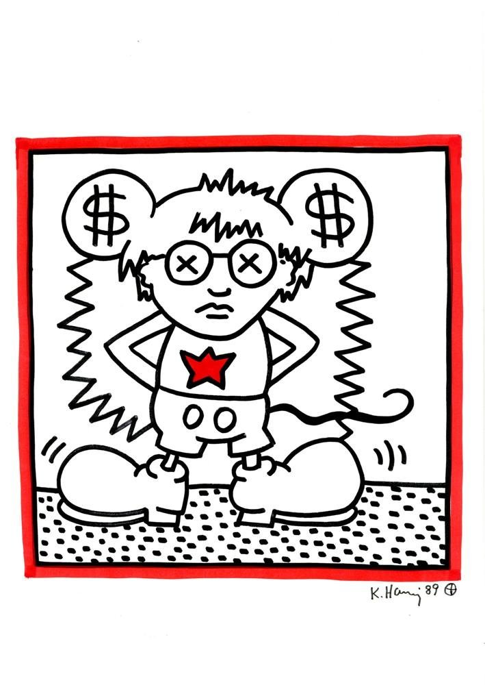 14: KEITH HARING [after] - Color drawing (red and black