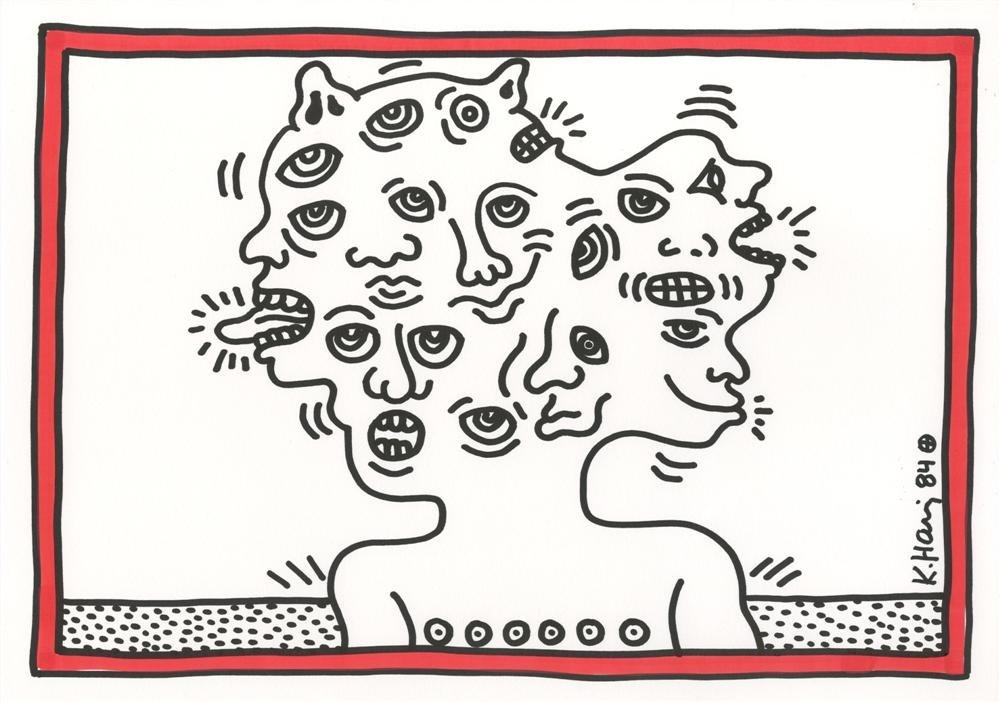 716: KEITH HARING [after] - Color drawing (red and