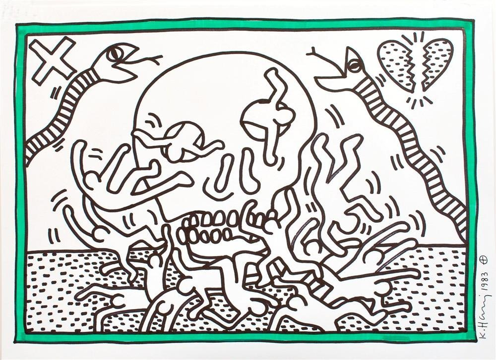 719: KEITH HARING [after] - Color drawing (green and