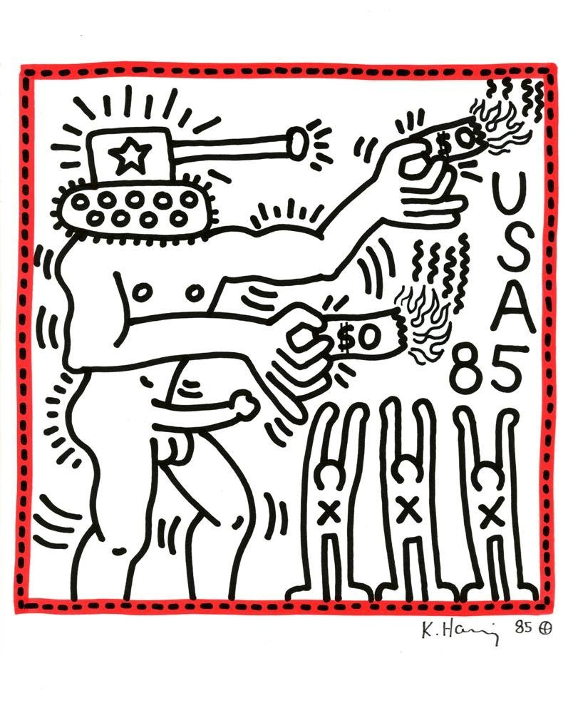 723: KEITH HARING [after] - Color marker drawing on