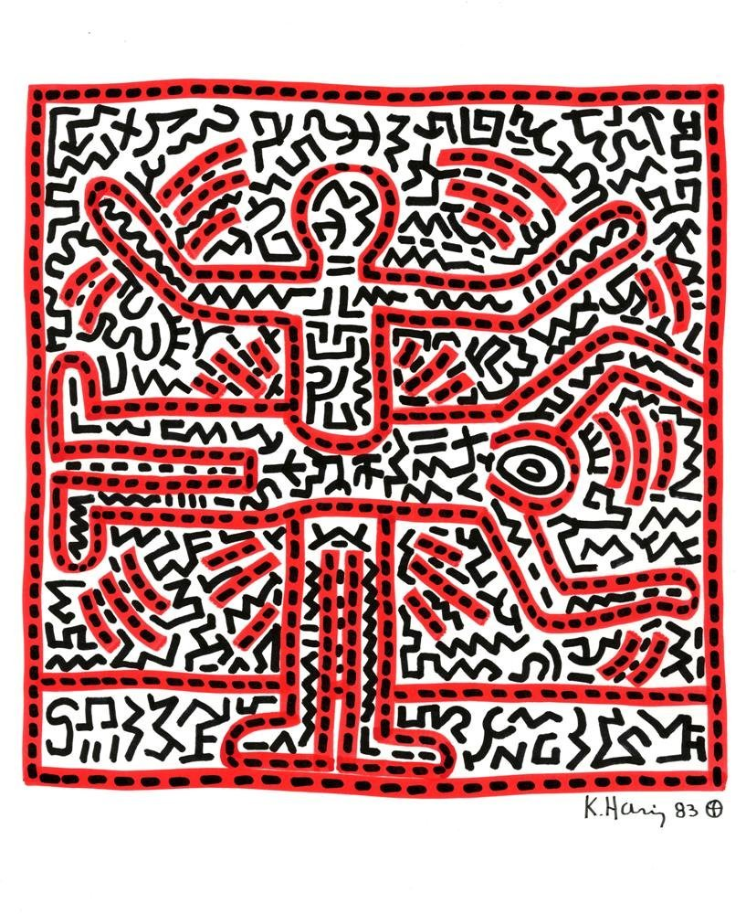 724: KEITH HARING [after] - Color marker drawing on