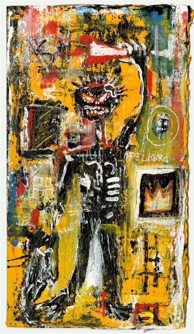 10: JEAN-MICHEL BASQUIAT - Oil on corrugated cardboard
