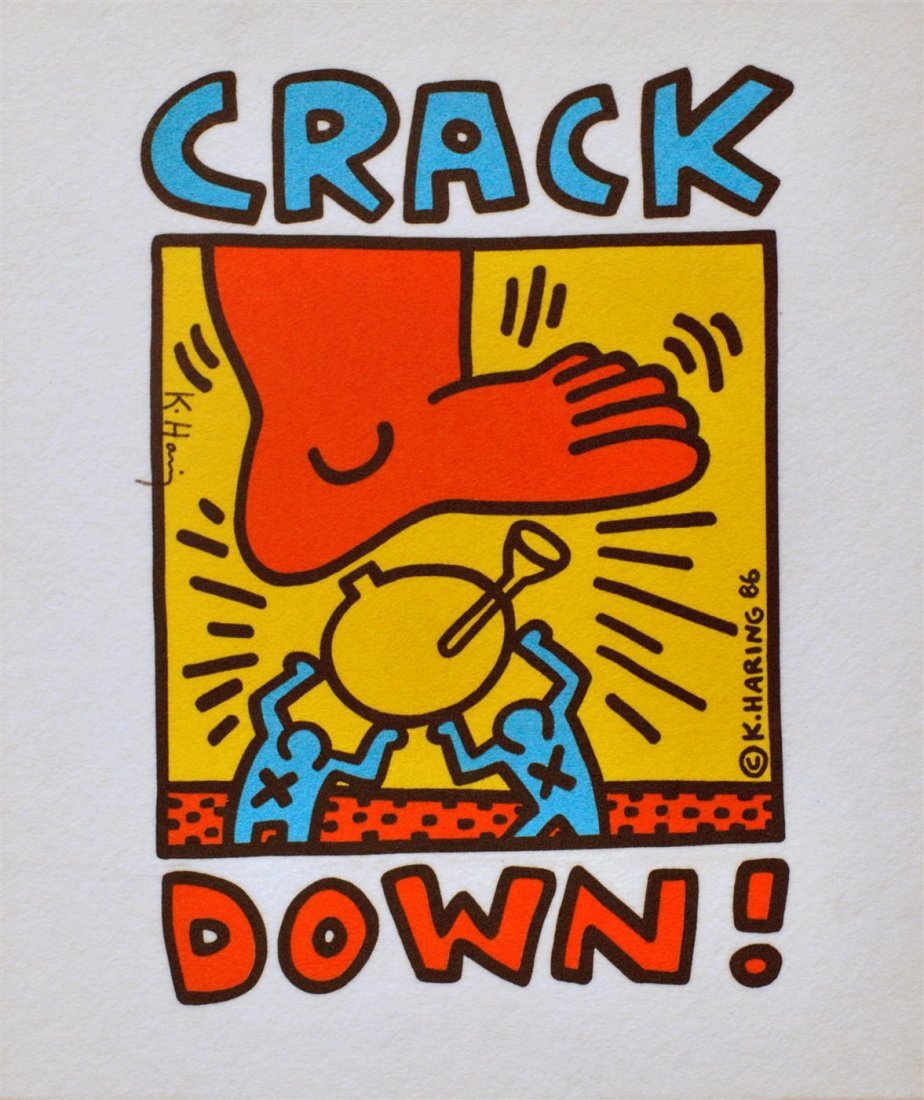 16: KEITH HARING - Colored inks on fabric