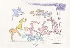 552 ROBERTO MATTA  Oil pastel on paper
