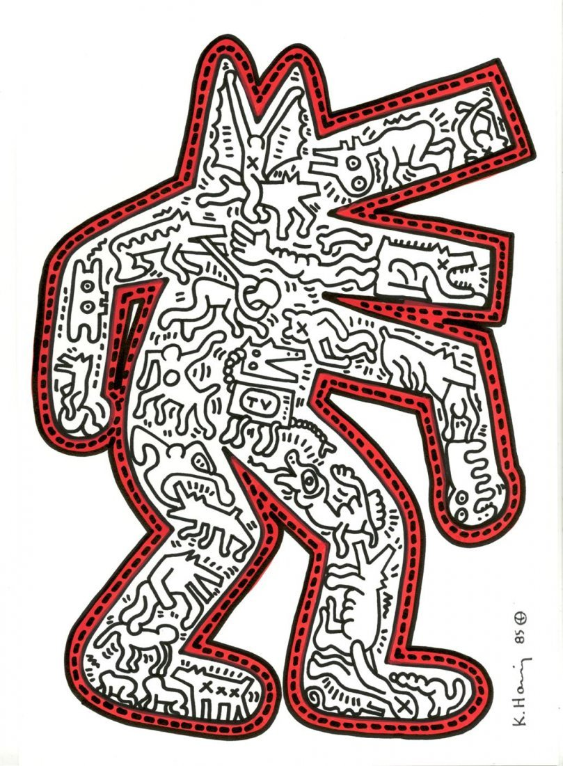 771: KEITH HARING [after] - Color drawing (red and