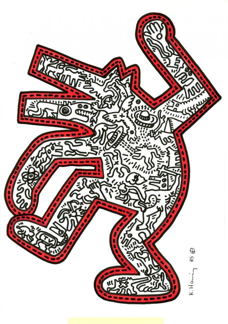 772: KEITH HARING [after] - Color drawing (red and