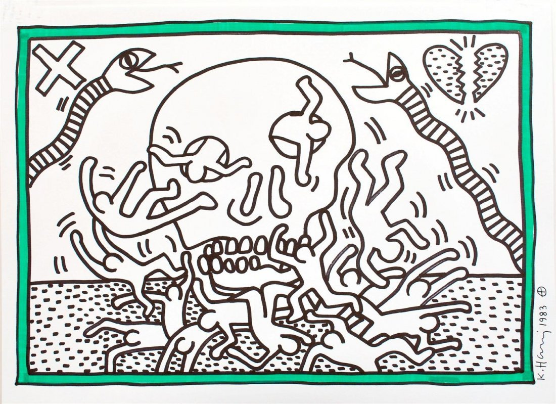 782: KEITH HARING [after] - Color drawing (green and