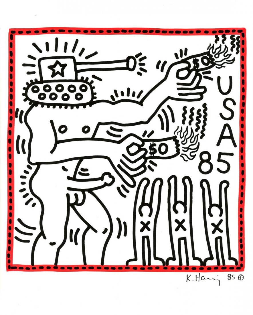 786: KEITH HARING [after] - Color marker drawing on