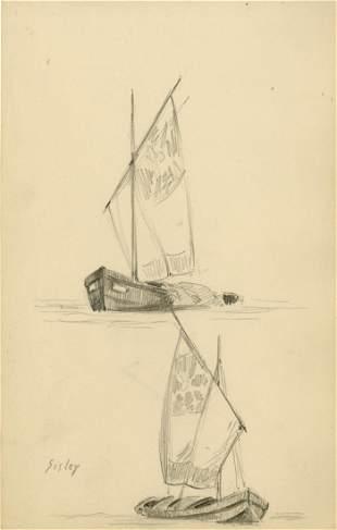 1543: ALFRED SISLEY - Original pencil drawing