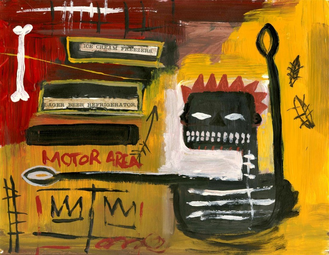 3: JEAN-MICHEL BASQUIAT - Oil and collage on paper