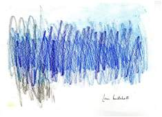 565: JOAN MITCHELL - Oil pastel and watercolor drawing