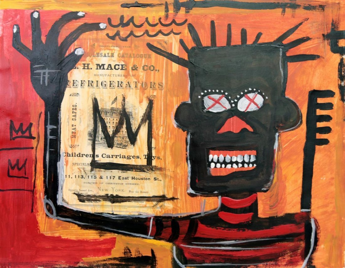 10: JEAN-MICHEL BASQUIAT - Oil and collage on paper