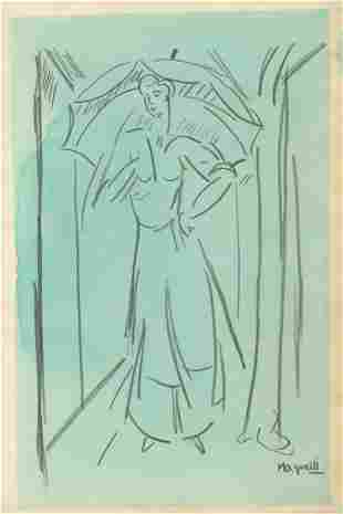 730: ALBERTO MAGNELLI - Watercolor and pencil drawing