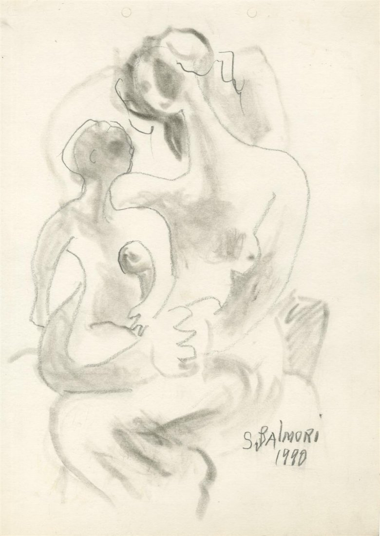 1002: SANTOS BALMORI - Charcoal drawing