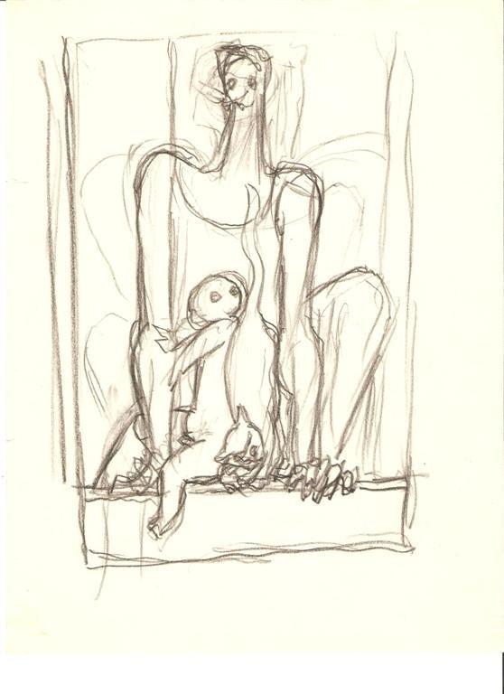 1003: SANTOS BALMORI - Original pencil drawing