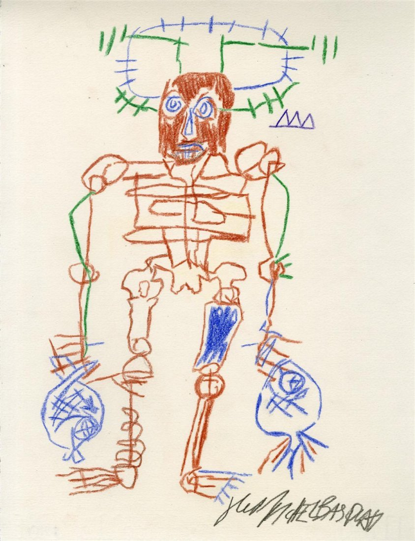 1007: JEAN-MICHEL BASQUIAT [after] - Colored pencils on