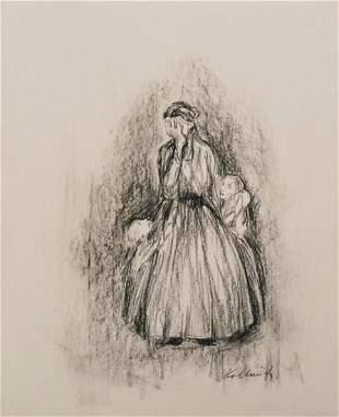 1564: KATHE KOLLWITZ [by or attrib] - Charcoal on paper