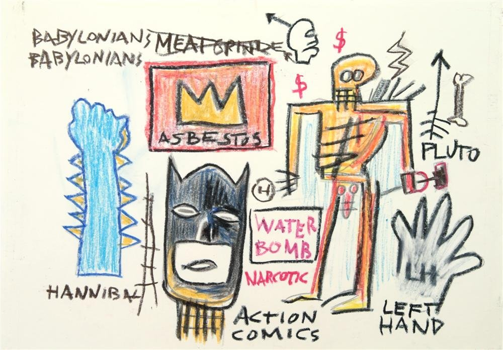 1: JEAN-MICHEL BASQUIAT - Oil pastel and crayon on