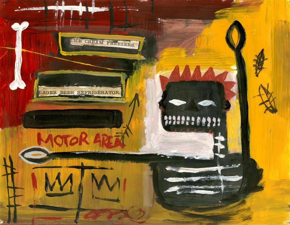 6: JEAN-MICHEL BASQUIAT - Oil and collage on paper