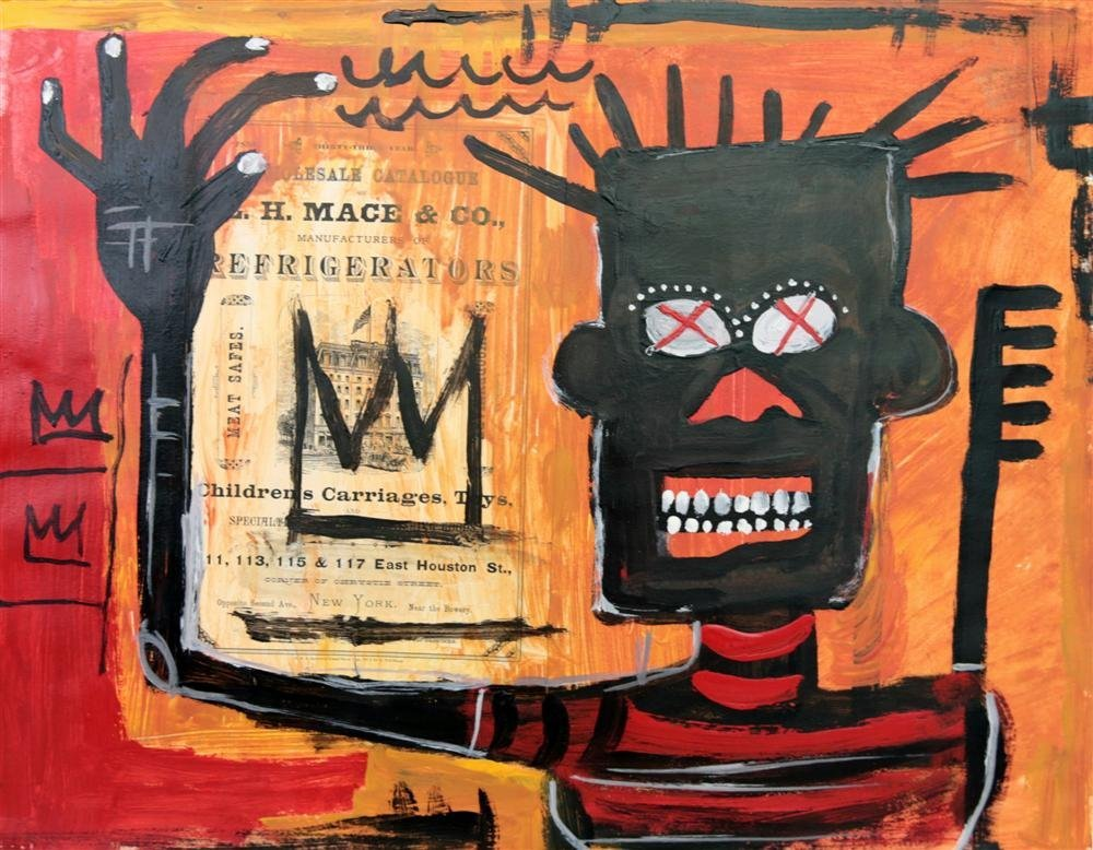 11: JEAN-MICHEL BASQUIAT - Oil and collage on paper