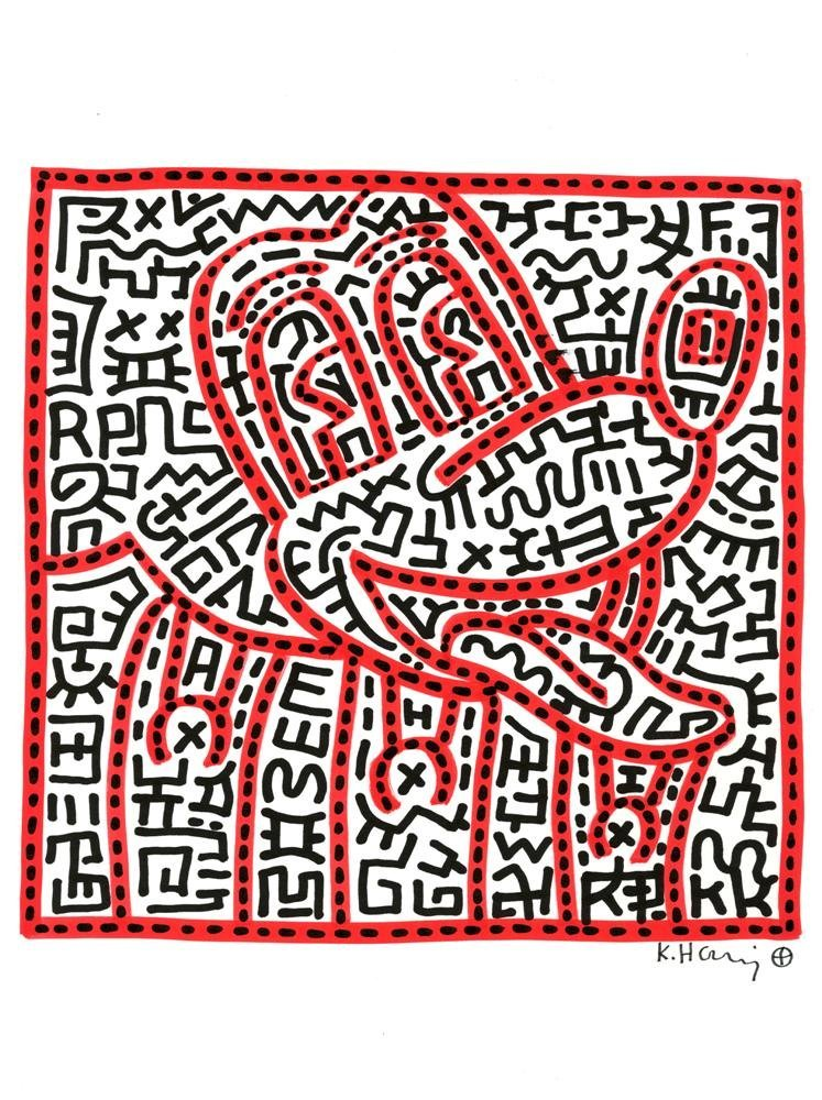 965: KEITH HARING [after] - Color marker drawing on