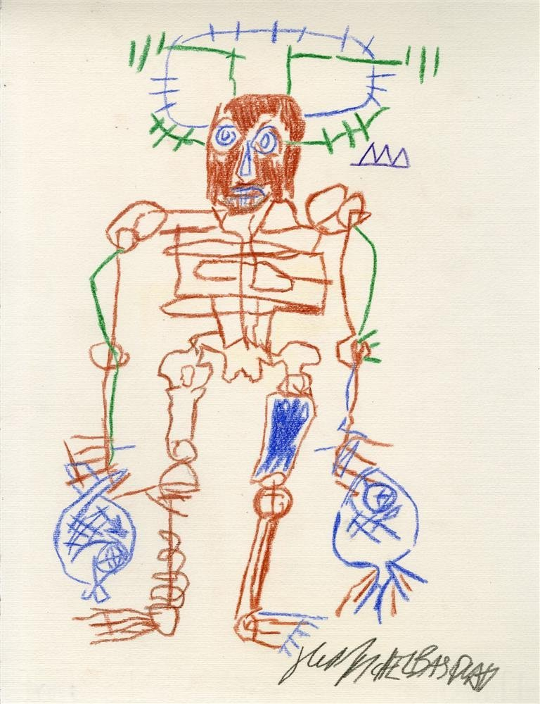 870: JEAN-MICHEL BASQUIAT [after] - Colored pencils on