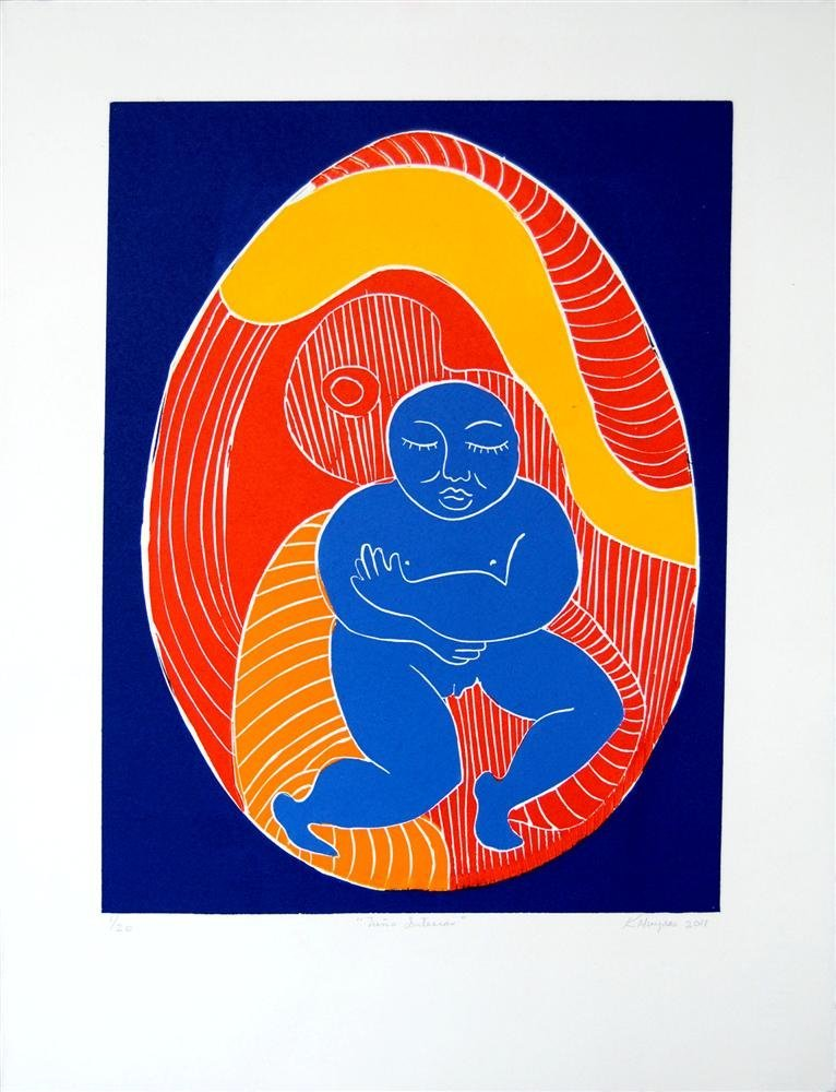 972: KARIMA MUYAES - Color reduction linocut