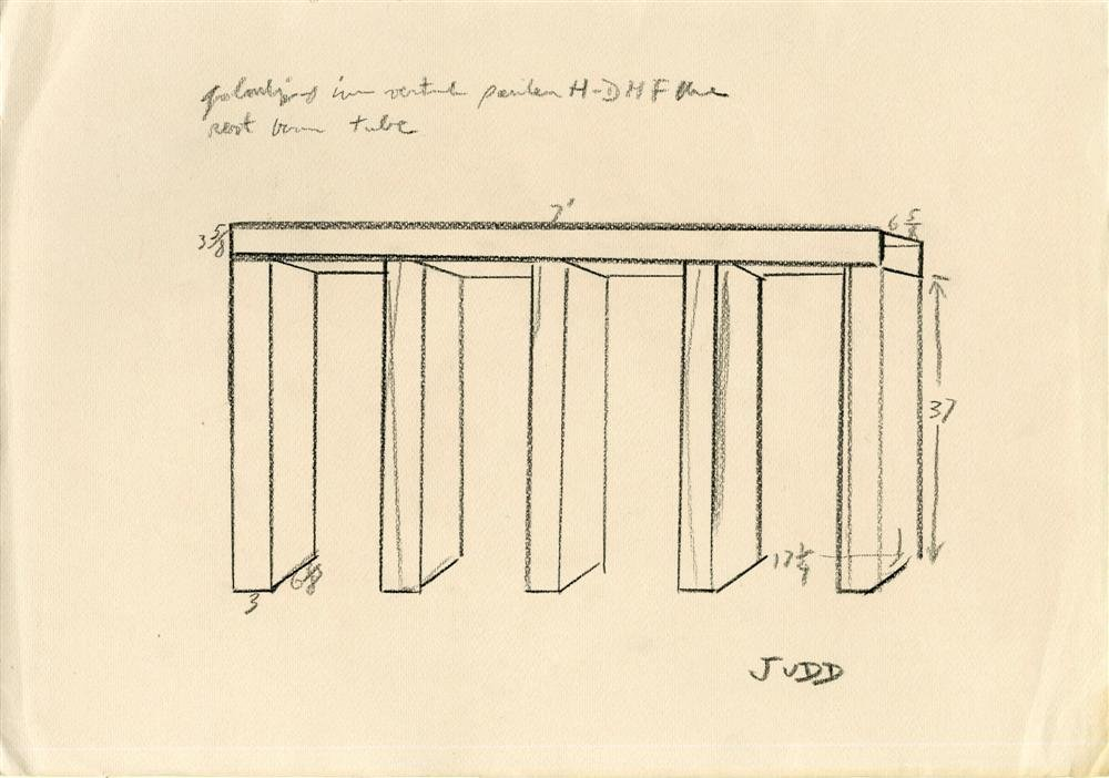 1371: DONALD JUDD [after] - Pencil drawing on paper