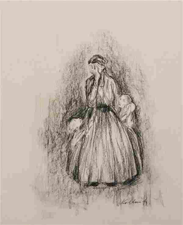 KATHE KOLLWITZ [by or attrib] - Charcoal on paper