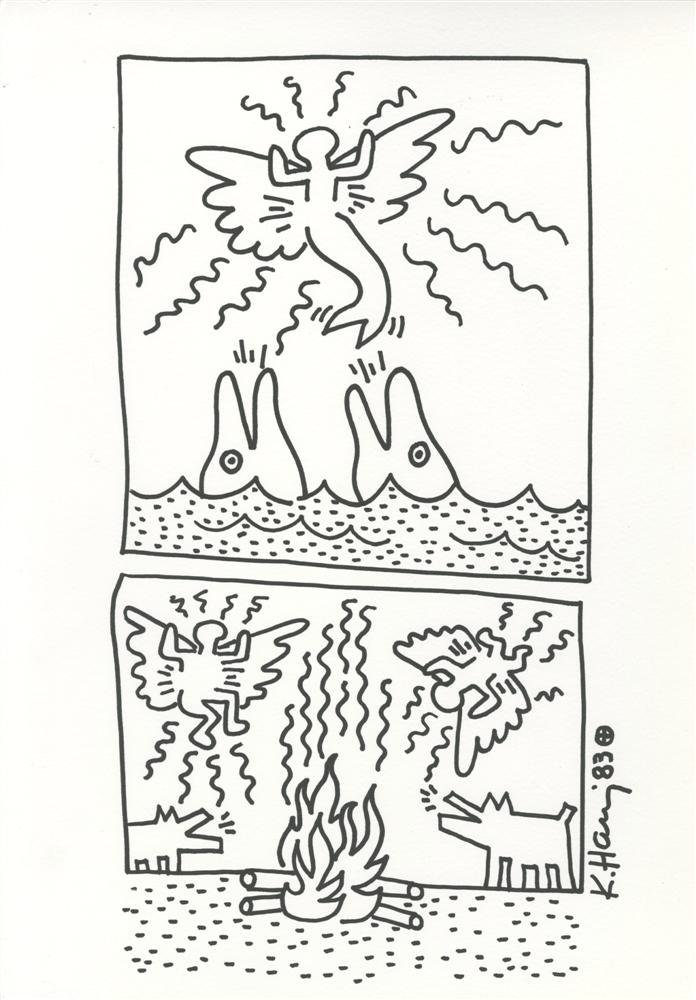 771: KEITH HARING - Ink/marker drawing on paper