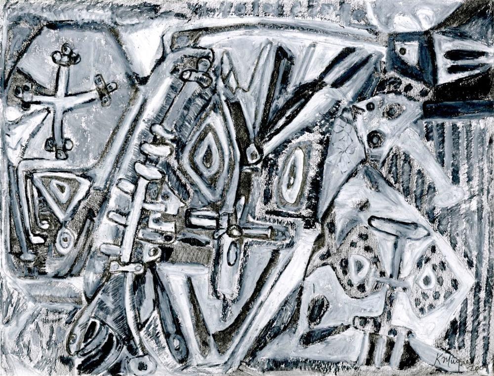 853: KARIMA MUYAES - Oil pastel and graphite on paper