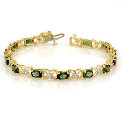 Bracelet 8.15ctw Certified Diamond & Green Tourmaline