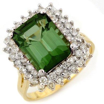 Ring 4.75ctw ACA Certified Diamond & Green Tourmaline