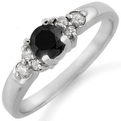 Certified 0.75ctw White & Black Diamond Ring White Gold