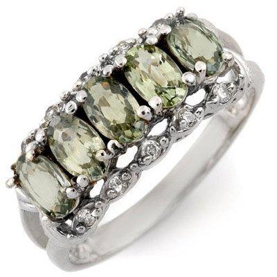 Genuine 1.80ct Diamond & Green Sapphire Ring White Gold