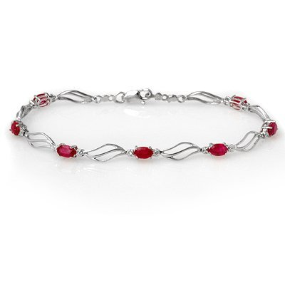 Bracelet 3.02ct ACA Certified Diamond & Ruby White Gold