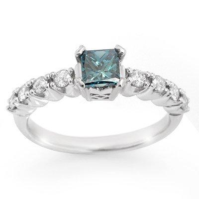 Bridal Ring 0.90ctw ACA Certified White & Blue Diamond