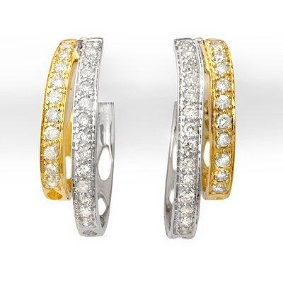 Certified 0.65ctw Diamond Hoop Earrings Two-Tone Gold